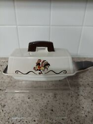 Rare Metlox Poppytrail Red Rooster 1/4 Lb Covered Butter Dish Htf Pottery