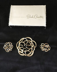 Stunning Early Vintage Flower Brooch Pin Earrings — Signed Sarah Coventry W/ Box