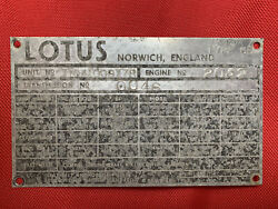 1972 Lotus Europa Vintage Vin Plates And Title. Type 65 Historical Documents