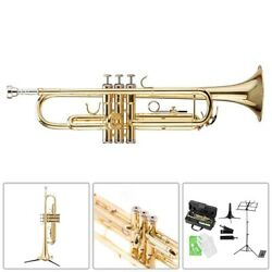 Bb Trumpet Brass Body With Case 7c Mouthpiece Music Stand Gloves Cleaning Cloth