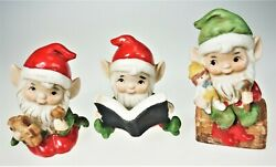 3 Homco Elves Gnomes Christmas Holiday Porcelain Figurines Toys Book Helpers