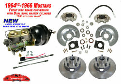 1964-66 Ford Mustang Front Power Disc Brake Conversion Kit, Low Profile Master