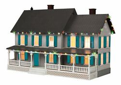Mth 30-90545 - 4 Country House W/ Operating Christmas Lights Light Gray And Teal