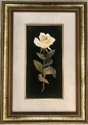Mosaic Rose Yellow Pink Pietra Dura Florence Italy Inlay Tile Painting Flowers