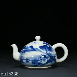 5.8 China The Qing Dynasty Blue And White Boy Herding Cattle Pattern Teapot
