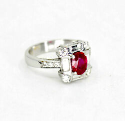 Retro Ruby And Diamond Engagement Ring In 18k White Gold