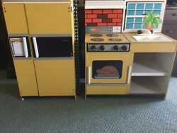 Vintage Child Size Yellow Kitchen Play Set Stove Refrigerator Sink 1960and039s-70and039s