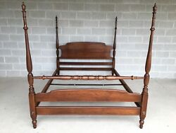 Ethan Allen Solid Cherry Chippendale Style Queen Poster Bed Model 11-5603