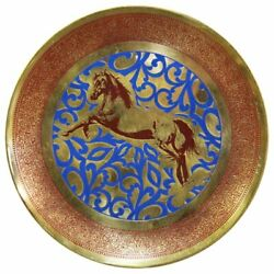 Natural Geo Horse Jumping Decorative Brass Accent Plate In Gold