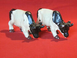 Vintage Porcelain Pottery Holstein Dairy Cow Figurines Made In Japan