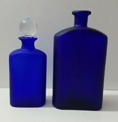 Collectible Crabtree And Evelyn Cobalt Blue Bottles Glass Stopper