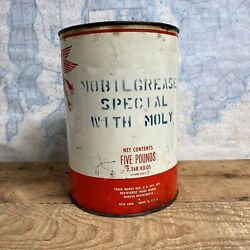 Mobil 5 Pound Grease Can Gas Oil Service Station Airplane Plane Vintage Truck