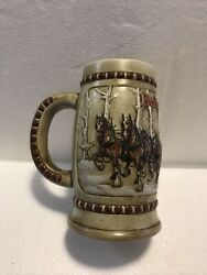 1981 Budweiser Holiday Clydesdale Beer Stein Mug Snow Covered Birch Trees