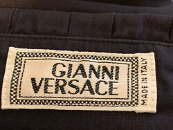 1795 Authentic Gianni Versace Made In Italy 🇮🇹 Mens Black Dress Shirt Sz.54