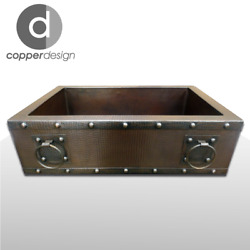 Copper Apron/farmhouse With Rings Kitchen Sink 36x22x9 No Custom Duties