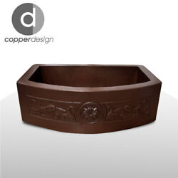 Copper Rounded Front Farmhouse Kitchen Sink Design01 36x22x9no Custom Duties