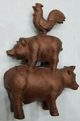Vintage Cast Iron Animal Model Cow Pig Rooster Farm Decor Paper Weight Metal Vtg