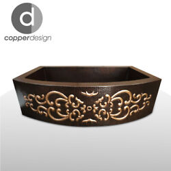 Copper Rounded Front Farmhouse Kitchen Sink Design05 30x20x9no Custom Duties