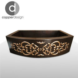 Copper Rounded Front Farmhouse Kitchen Sink Design05 33x22x9no Custom Duties