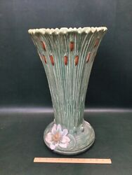 Rare Weller Pottery Ardsley Cattails And Lilies Umbrella Stand 19-1/2 Tall