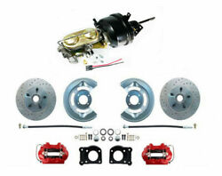 1964-66 Ford Mustang Front Power Brake Conv Kit, Red, Low Profile M/c, Xd Rotors