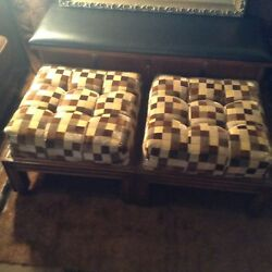 Vintage Matching Foot Rest Checkered Manner Of Milo Baughman Stools