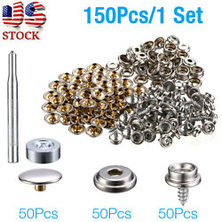 150 X Boat Marine Canvas Fabric Snap Cover Button And Socket Kit 3/8 Steel Metal