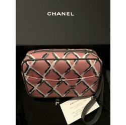 CHANEL CAPSULE COLLECTION Coco Beach Pouch Pink x Silver Metal Fittings $1749.00