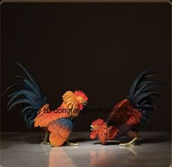 Chinese Brass Copper Painted Chicken Rooster Cock Chook Game Fowl Statue Pair