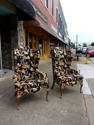 Fantastic Queen Anne Winged Back Chairs With New Chinoiserie Fabric 20thc.