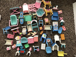 50+ Pieces Vintage Fisher Price Loving Family Dollhouse Furniture Tv Toy Horses