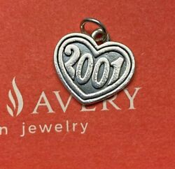 Retired James Avery Sterling Silver 2001 Year Heart Charm Special Occasion
