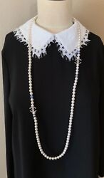 Bnib Authentic White Glass Pearl Long Necklace 2 Cc Logos 45