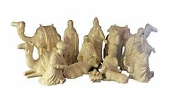Nativity 15 Piece Set Ceramic Bisque Glaze With Mother Of Pearl Finish 7 To 9