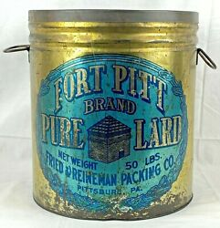Vintage 50 Pound Fort Pitt Brand Pure Lard Tin Metal Can With Lid Pittsburg Pa