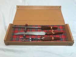 Vintage Voos Co. 3 Piece Carving Set Orig. 1950s 1960s Wooden Handle Stainless