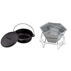 Captain Stag Camping Barbecue Dutch Oven Cast Iron No Seasoning Required