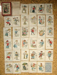 Vintage/antique Old Maid Card Game With Box And Instructions, 34 Cards