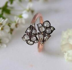 Antique Victorian Double Leaf Mine Cut Diamond And 18ct Rose Gold Wrap Over Ring