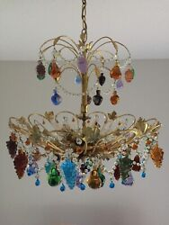 Vintage Murano Chandelier - Glass Fruits, Rustic Gold-colored Frame, Six Lights
