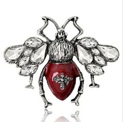 Zard Wine Red Bumble Bee Brooch With Clear Crystals Accents Fashion Pin Brooch