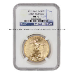 2013 50 American Gold Eagle Ngc Ms70 Early Releases Bullion Coin 1 Ounce 22-kt