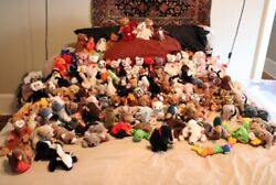 Huge Beanie Baby Lot 100 Vintage Retired Rare Plush Toy Nwt Many Errors Cases