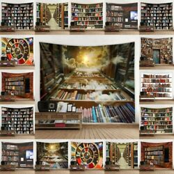 3D Retro Bookshelf Tapestry Wall Hangings Psychedelic Throw Tapestries Decor