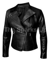 New Womenand039s Rihanna Vintage Style Slim Fit Casual Biker Black Leather Jacket