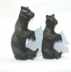 A Large Pair Of Good Antique Treen Black Forest Begging Bears Glass Eyes C.19th