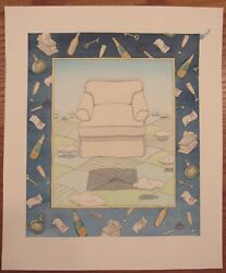 Signed Surrealist Watercolor Floating Club Chair Shy 12x14 Nypl Lions/champagne