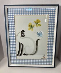 Vtg Kazuko Chiyo Sasaki Japanese Watercolor Original Signed Cat And Butterflies