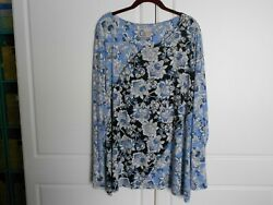 Zenergy By Chicos Sz 4 Blue Floral Long Sleeves Light Soft Top Blouse Tunic Soft