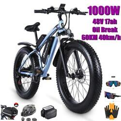 Electric Bike 1000w Snow Ebike 48v Bicycle Increase 26-inch Fat Tires Electric